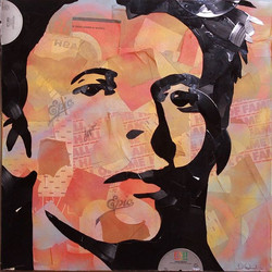 #DavidBowie made out of hand broken vinyl records and their packaging on 24x24_ canvas