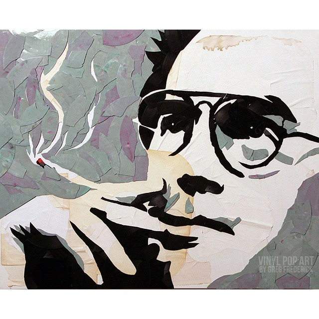#huntersthompson made of #vinyl #records #vinylpopart #lps #streetart #popart #fearandloathing