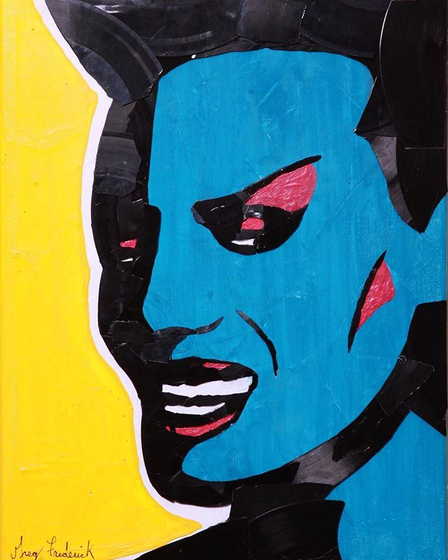Day 2 of 30 portraits in 30 days!__#GraceJones made out of hand broken vinyl records and their packa