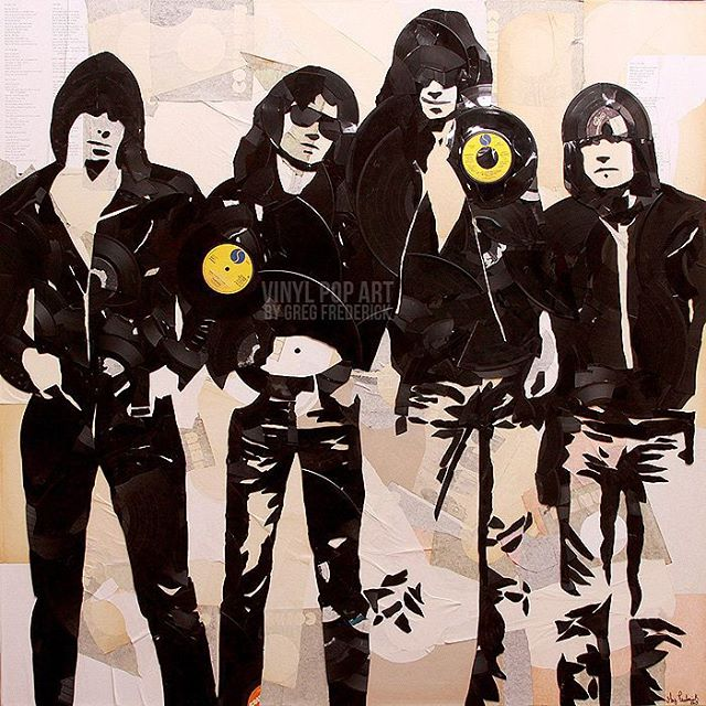#ramones made out of #vinylrecords #vinylpopart #streetart #popart #records #vinyl #lp #45s #punkroc
