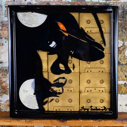 #Biggiemade out of vinyl records, cassette tapes set in resin in a handmade 14x14 frame.Watch how