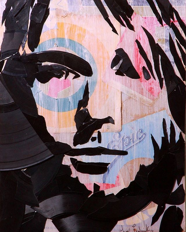 #KurtCobain made out of hand broken vinyl records and their packaging on 11x14 canvas._._