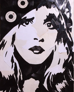 #StevieNicks of #FleetwoodMac  made out of hand broken vinyl records and their packaging on 24x36 ca