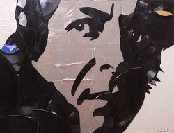 #LeonardCohen made out of hand broken vinyl records and their packaging on 24x18 canvas. _FOR SALE,