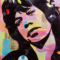 #MickJagger of the #RollingStones made out of hand broken vinyl records  and their packaging plus ly