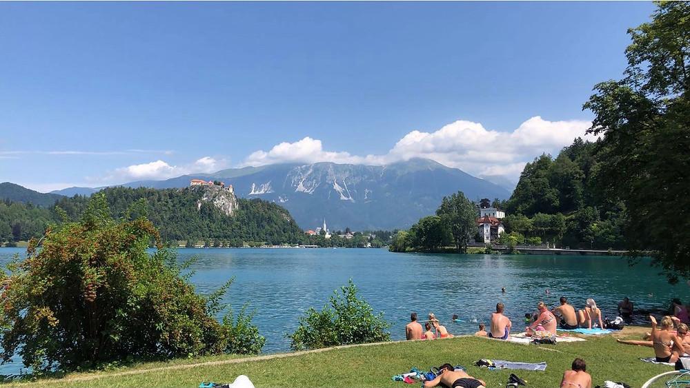Chilling at lake Bled