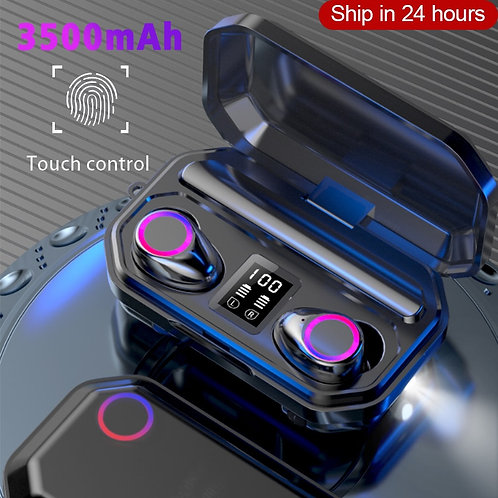 3500mAh Wireless Bluetooth Earphones  w/ Touch Control LED and mic; waterproof