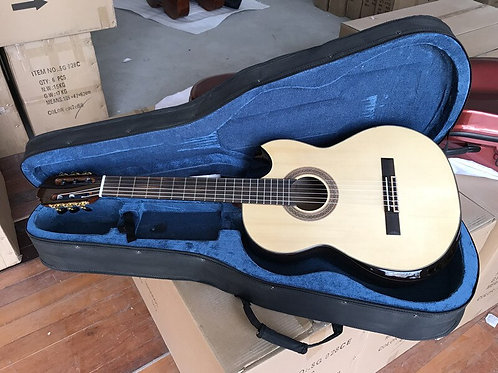 High-Grade Handcrafted Classical Guitar w/ Special Bowl Shape Cutway, Case Incl.