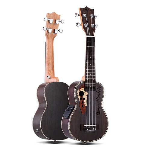 """Ammoon 21"""" Ukulele, Electric w/ Built-In EQ Pickup OR Acoustic, Spruce Body"""