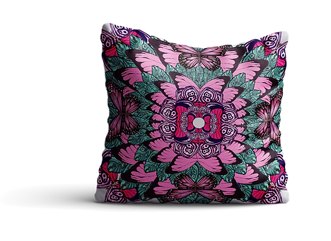 Pink green butterfly cushion back mock u