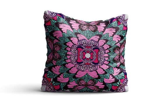 Pink and green butterfly mandala square cushion - 45cm