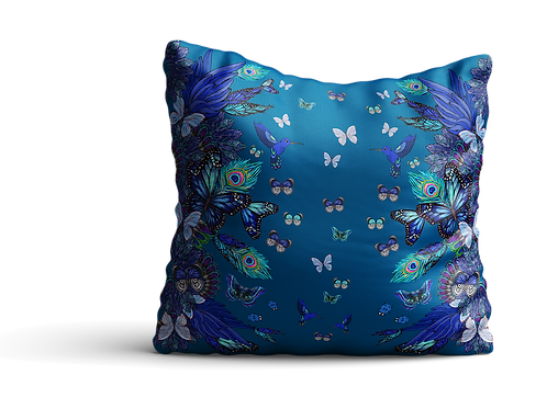 Blue flying butterflies square cushion