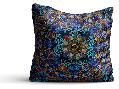 Blue bee mandala square Velvet cushion - 45cm