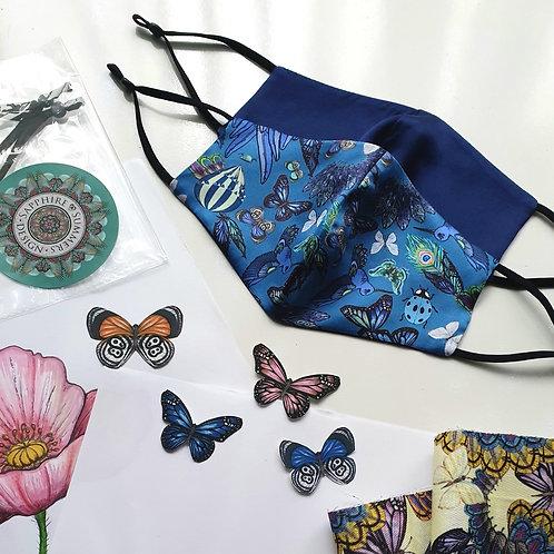 Blue Butterfly 100% Luxury Silk reversible Face mask