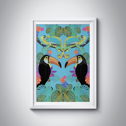Symmetrical Jungle with toucans and chameleons