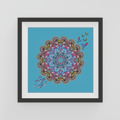 Small blue Mandala Art Print with hummingbirds and feathers