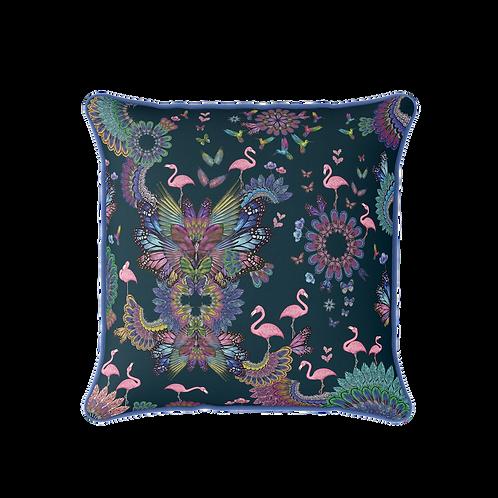 Purple/Navy square flamingo cushion
