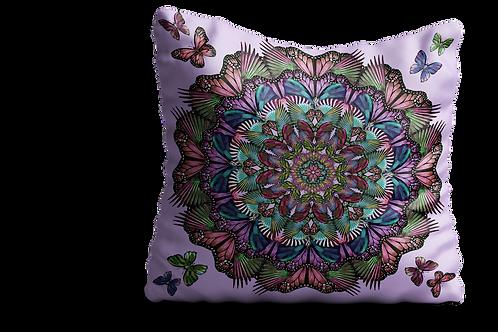 Pink and purple Butterfly mandala square Velvet cushion - 45cm