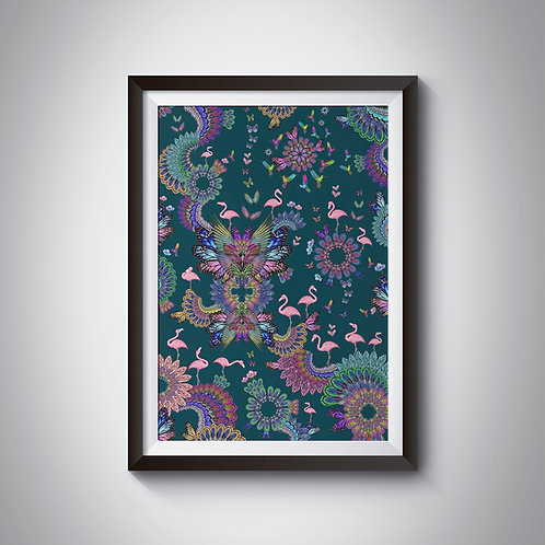 Dark purple flamingo Fine Art Print - framed