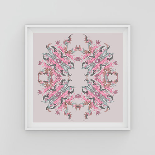 Pink flamingo circle Fine Art Print