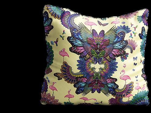 Yellow flamingo velvet cushion - 45cm