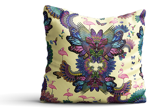 Yellow flamingo designer cushion interior design london