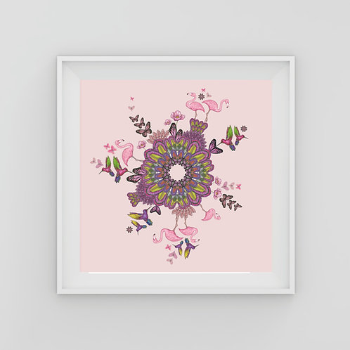 Pink flamingo feather circle Fine Art Print