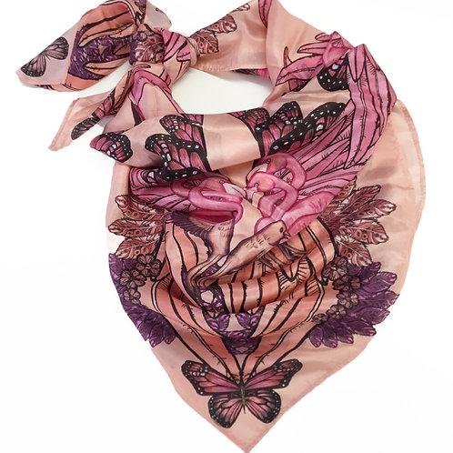 Soft pink flamingo silk scarf