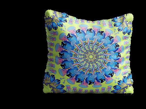 Under the sea yellow fish mandala velvet cushion