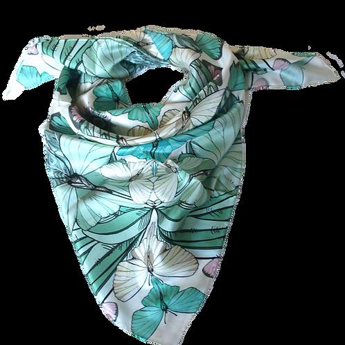 Green Summer garden silk scarf