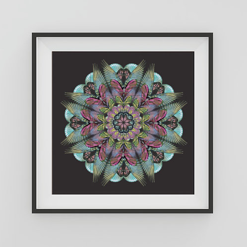 Medium black Mandala Art Print