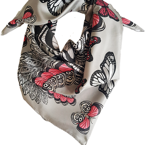 Silver butterfly silk scarf