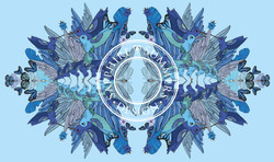 Blue hummingbirds scarf 2 copy