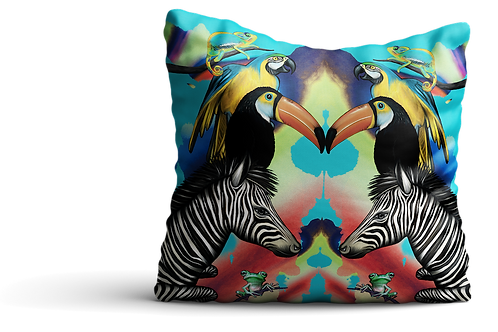 Jungle zebras square Velvet cushion - 45cm