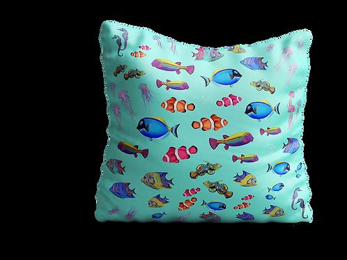 Shoal of fish in green velvet cushion