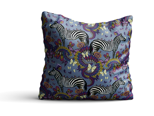 Zebras and butterflies in light blue grey - velvet cushion 45cm