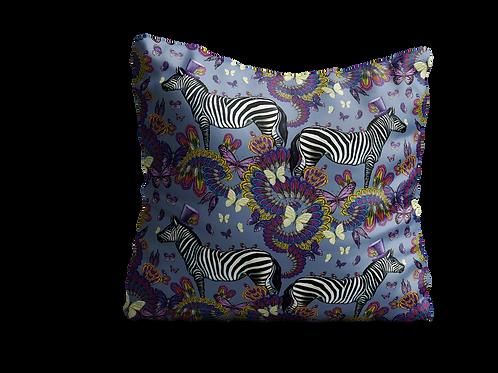 Zebras and butterflies in light blue/grey - velvet cushion 45cm