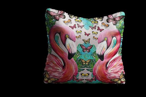 Twin flamingos and butterflies cushion
