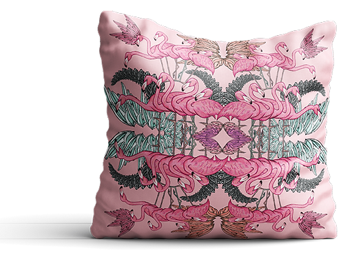Pink flamingo square with feathers velvet cushion - 45cm