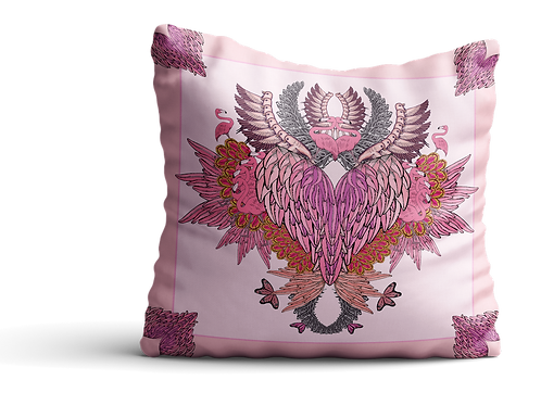 Pink flamingo wings square Velvet cushion - 45cm