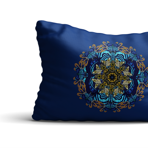 Blue bee mandala velvet cushion - reversible