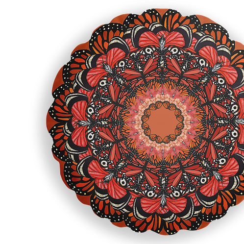 Round Orange butterfly mandala cushion - reversible