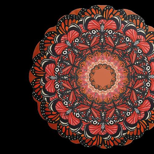 Round Orange butterfly mandala cushion - reversible