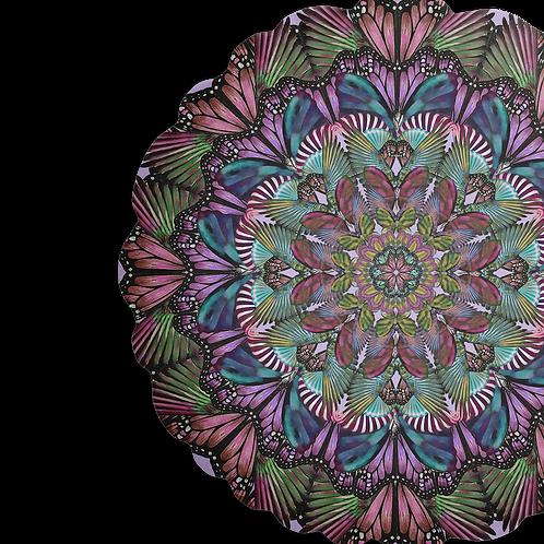 Purple Butterfly mandala Velvet cushion - reversible