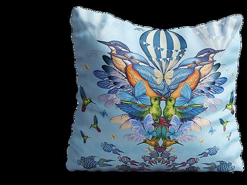 Blue square Kingfisher cushion 45cm