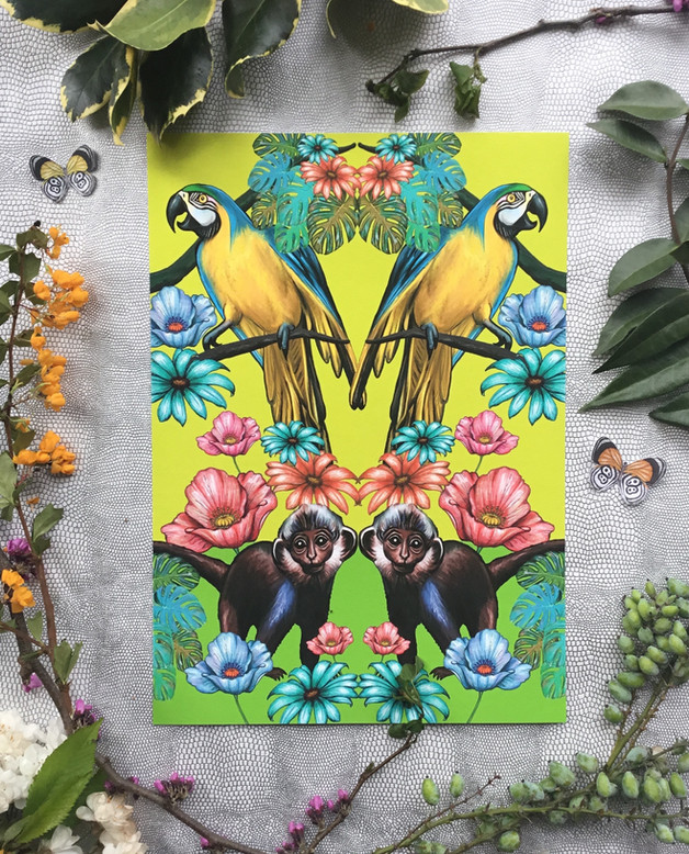 Symmetrical jungle print with parrots and monkeys