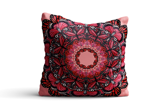 Red butterfly mandala square cushion - 45cm