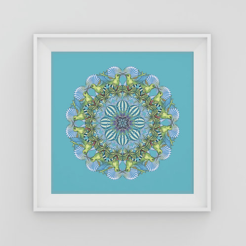 Small blue and green Mandala Art Print