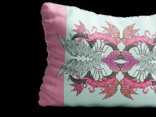 Pink flamingo wings heart long cushion