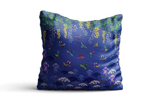 Hummingbirds and flowers in blue - square cushion - 45cm